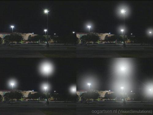 lichtkringen rondom lampen (halo)